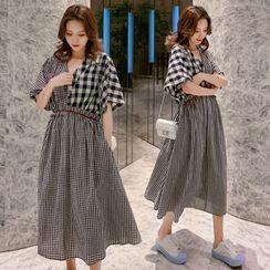 Clover Dream - Maternity Plaid A-Line Midi Dress