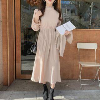 Leoom - Long-Sleeve Midi A-Line Pleated Dress