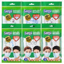 SENSI - 3-Ply Earloop Surgical Face Mask Pattern 6 pcs