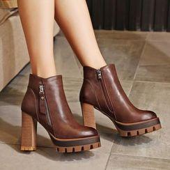 锦洋鞋业 - 厚底粗跟及踝靴