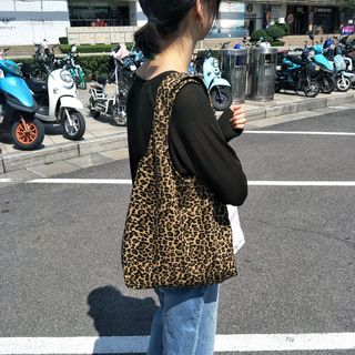 Basaran(バサラン) - Leopard Print Canvas Tote Bag