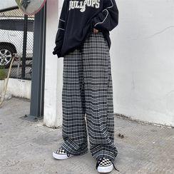MAPOGO - Plaid Wide-Leg Pants