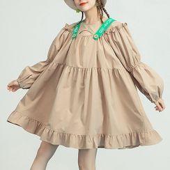 KEIKO - 泡泡袖刺绣直筒连衣裙