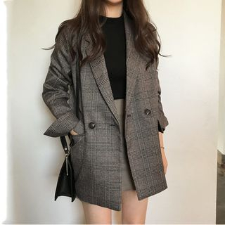 Soswift - 雙排扣格紋西裝外套
