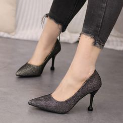 IYATO - Pointy Glitter Stiletto Heel Pumps