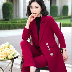 Sugar Town - Double-Breasted Blazer / Straight-Leg Dress Pants / Set