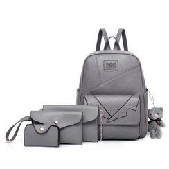 Selinda - Set: Faux Leather Backpack + Wallet + Crossbody Bag + Key Holder