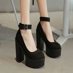 Niuna - Ankle Strap Platform Chunky Heel Pumps