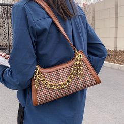 Echinops - Chain Top Handle Houndstooth Shoulder Bag