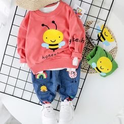 Mini Bae - Kids Set: Printed Pullover + Cropped Harem Jeans