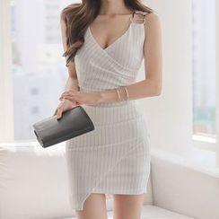 Yilda - 无袖条纹迷你塑身连衣裙