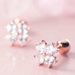 A'ROCH - 925 Sterling Silver Rhinestone Clover Earrings
