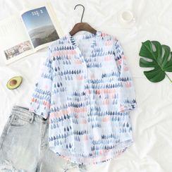 PANDAGO - 3/4-Sleeve All-Over Print Stand Collar Shirt