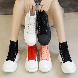 Yuki Yoru(ユキヨル) - Platform Lace Up High Top Sneakers