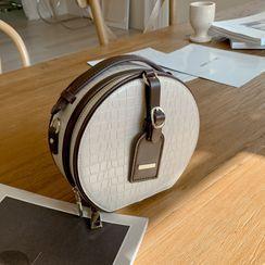 DEEPNY - Croc-Grain / Houndstooth Round Hand Bag