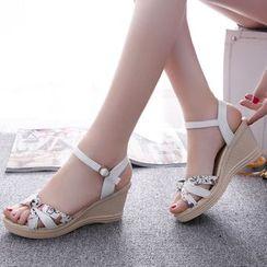 Weiya - Ankle Strap Wedge Sandals