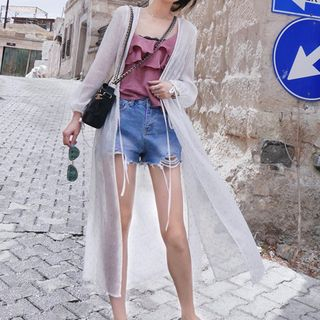 Dazzler - Puff-sleeve Long Chiffon Jacket