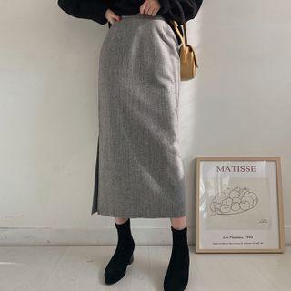 MERONGSHOP - Slit-Side Long H-Line Skirt