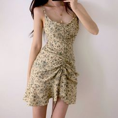 STARK - Floral Print Spaghetti-Strap Mini Sheath Dress