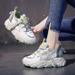 Sleeko - 拼接厚底粗織休閒鞋