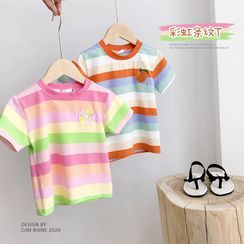 Shaneebabe - Kids Embroidered Striped Short-Sleeve T-Shirt