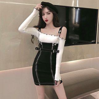 80PERCENT - Off-Shoulder Long-Sleeve Knit Top / Zip Detail Mini Jumper Dress