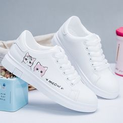 Ordinate Shoes - Cat Print Sneakers