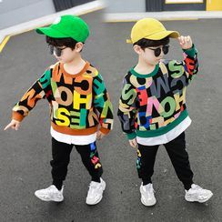 PAM - Kids Set: Lettering Pullover + Cropped Harem Pants