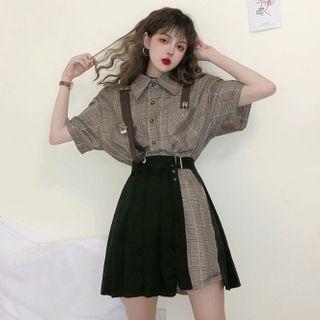 Apotheosis - 套裝:短袖格子襯衫連衣裙 + 打褶襉裹式裙