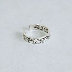 Galileo - Lettering Roman Numeral 925 Sterling Silver Open Ring