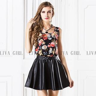 LIVA GIRL - Sleeveless Floral Print Chiffon Top