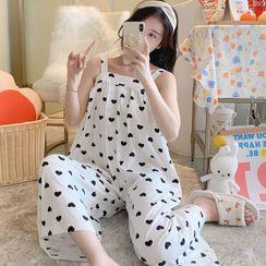 Dreamdazz - Sleeveless Cow Print Pajama Jumpsuit