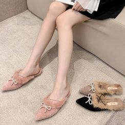 KICKOFF - Pointed Fluffy Bow Flat Mules