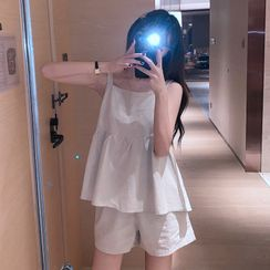 IndiGirl - Set: Sleeveless Babydoll Top + Shorts