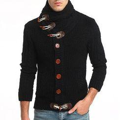 Hansel - Stand Collar Chunky Knit Cardigan