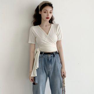Bebop - Lace-Up Short-Sleeve T-Shirt / Distressed Wide-Leg Jeans
