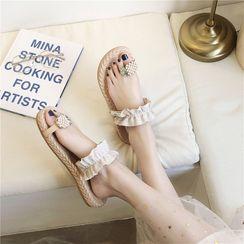 Hipsole - Pineapple Detail Toe-Ring Slide Sandals