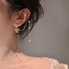 Poppin - Butterfly Drop Earring with Ear Cuff