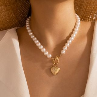Yongge - Alloy Pearl Necklace / Bracelet / Choker