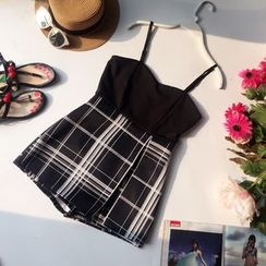 Yearnin - Plaid Panel Strappy Playsuit