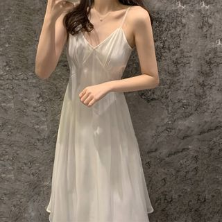 Jeonseon - Spaghetti Strap Plain A-Line Dress