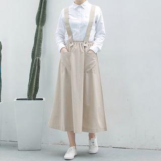 Sulis - Midi A-Line Suspender Skirt