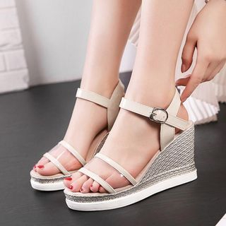 JY Shoes - Clear Strap Wedge Platform Sandals