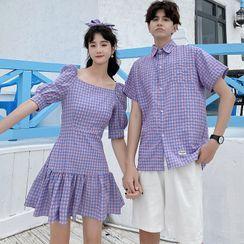 Azure - Couple Matching Short-Sleeve Gingham Shirt / Puff-Sleeve Gingham A-Line Dress / Shorts