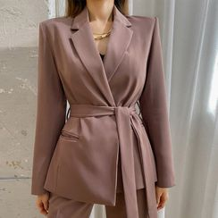 DABAGIRL - Office Look Wrap-Front Blazer