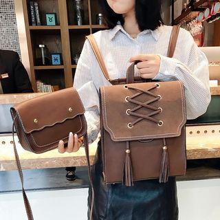 MUSA - 套裝: 繫帶仿皮背包 + 長款錢包