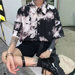 Banash(バナッシュ) - Printed Elbow-Sleeve Shirt