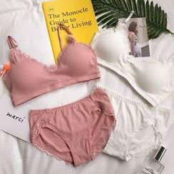 Moon City - 套装: 蕾丝边胸罩 + 内裤