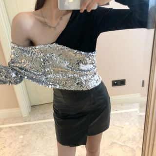 ROCKBABE - Long-Sleeve Asymmetric Shoulder Sequined Velvet Top