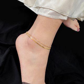 Utsukushi - Titanium Steel Snake Double-Layered Anklet